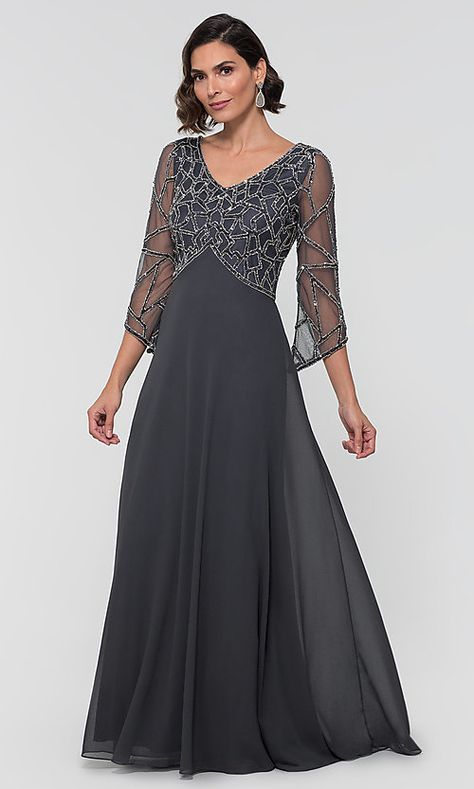 Three-Quarter-Sleeve Long MOB Dress with Beading #groomdress