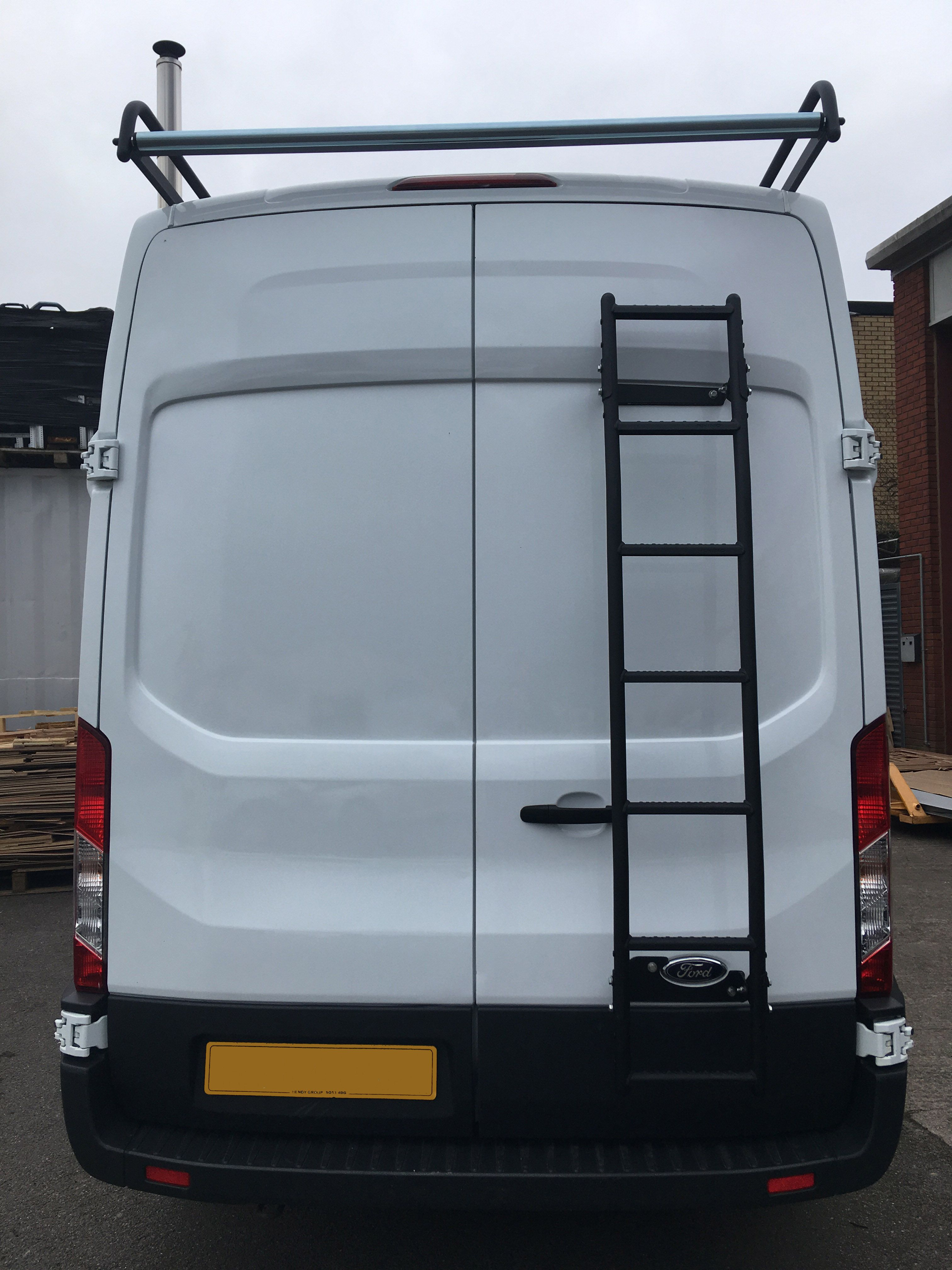 0de0cdc9a6 Rear door ladder and modular roof rack from Rhino Roof Accessories fitted  to this Ford Transit