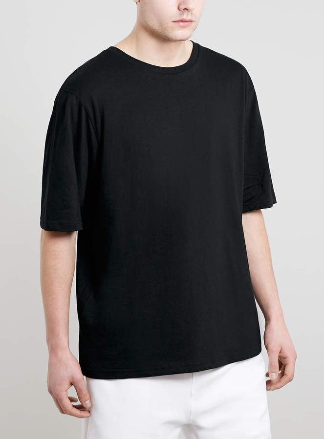 8f7638da Topman New Fit Black 3/4 Boxy T-Shirt on shopstyle.com | Mens ...