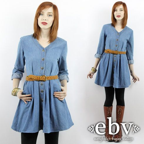 Vintage 90s Denim Longsleeve Mini Jean Dress Babydoll Xs S Grunge
