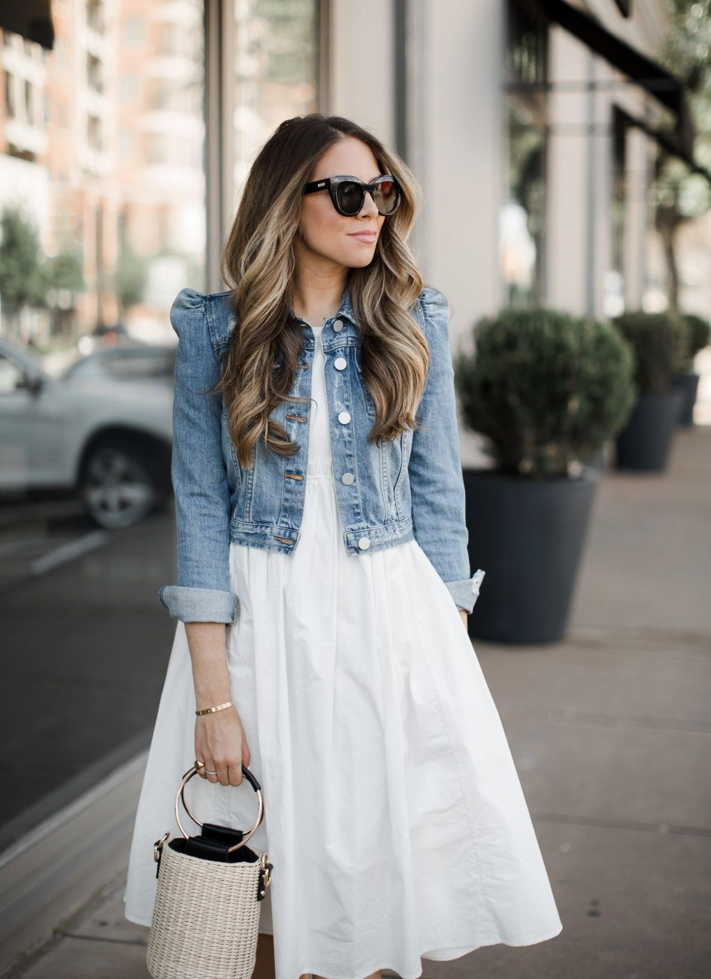 White Dresses For Summer Under 150 The Teacher Diva A Dallas Fashion Blog Featuring Beauty L Summer Dress Outfits Denim Jacket With Dress Stylish Dresses [ 1409 x 1024 Pixel ]