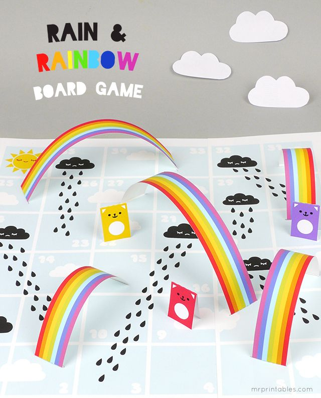 Rain & Rainbows Board Game printable template - perfect rainy day ...