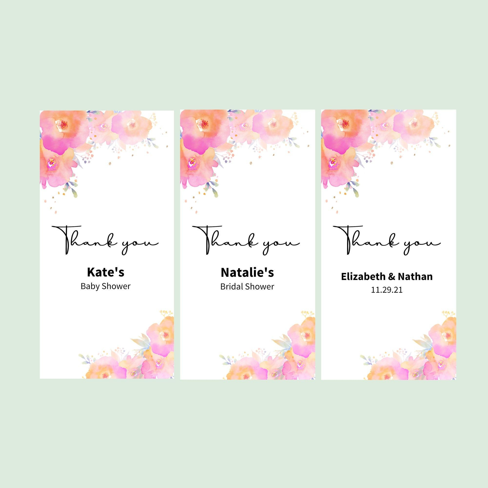 Set of 12 Wedding Favors Sticker Labels Bridal Shower Floral Stickers