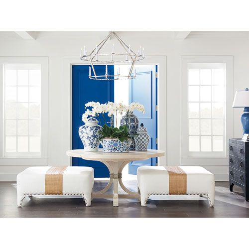Wholesale Furniture Outlet Newport: Barclay Butera Newport Sailcloth Magnolia Round Dining