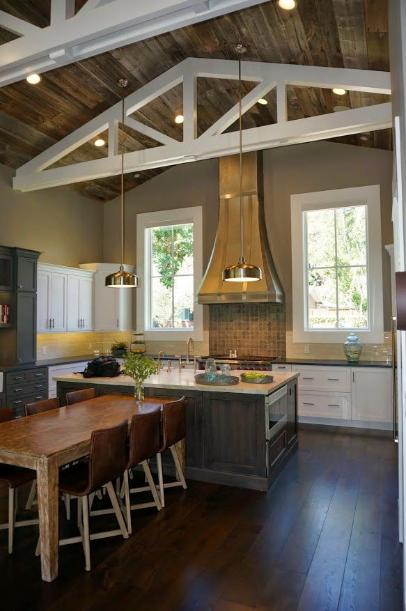 Merveilleux LMK Interiors: Alamo Farmhouse Kitchen. Table With Island.