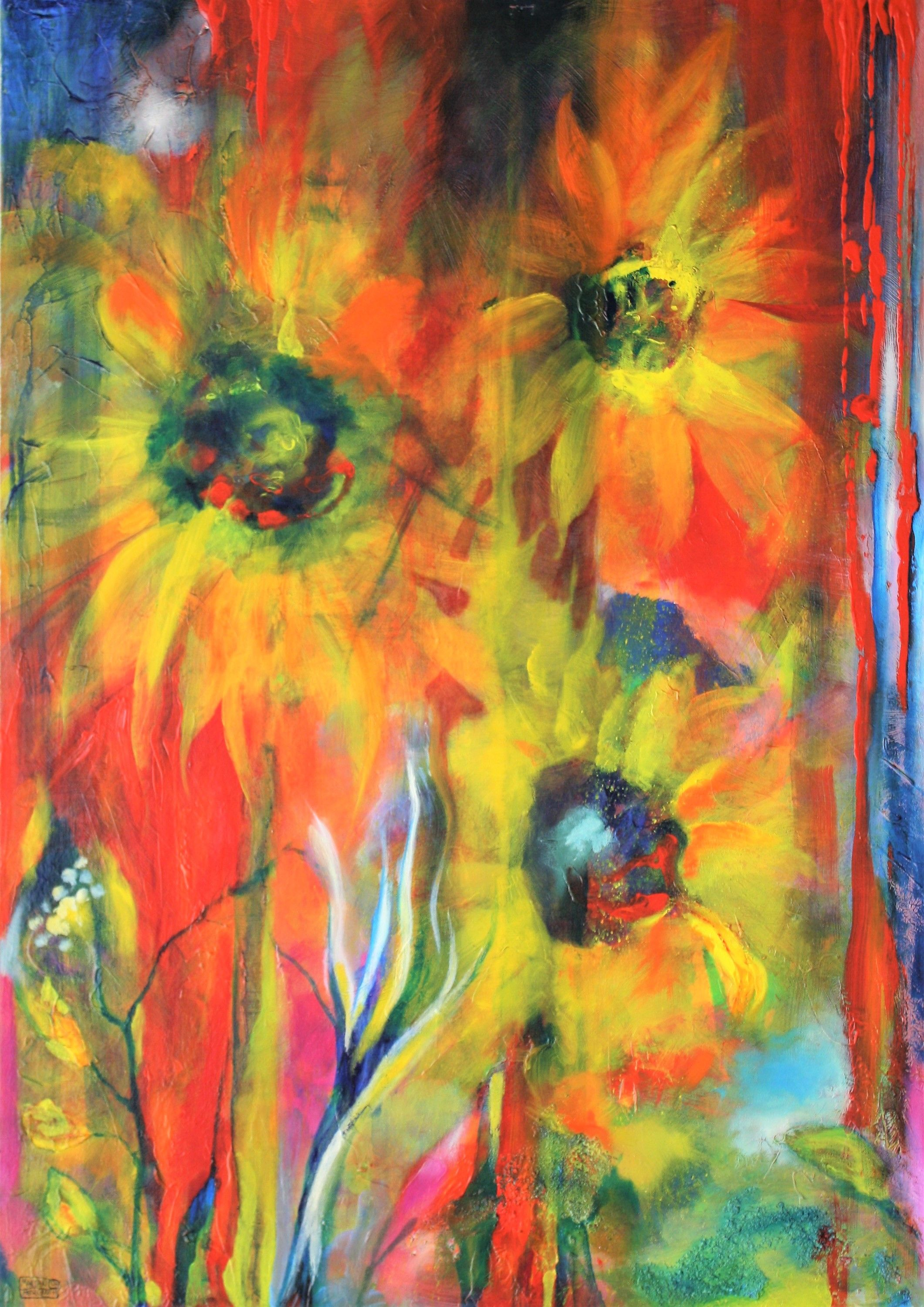 Mr Marian Hergouth, Sonnenblumen, Sunflowers, Painting Acryliclic And Oil, 90