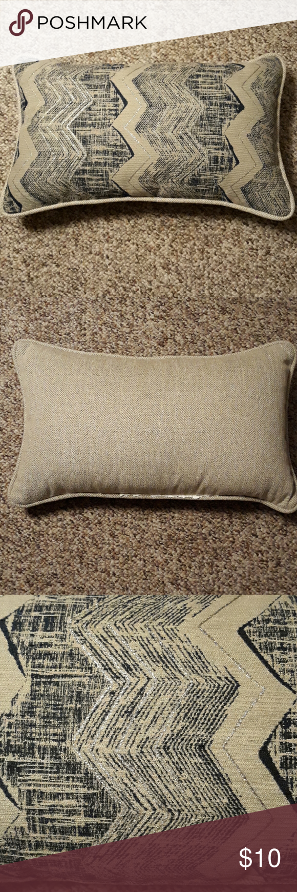 Decor pillow new without tags Cream and navy blue with silver Approximately 11 X