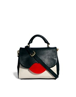 Image 1 of Lulu Guinness Small Cross Body Color Block Leather Satchel Bag  Leather Crossbody 0af9452eb6242