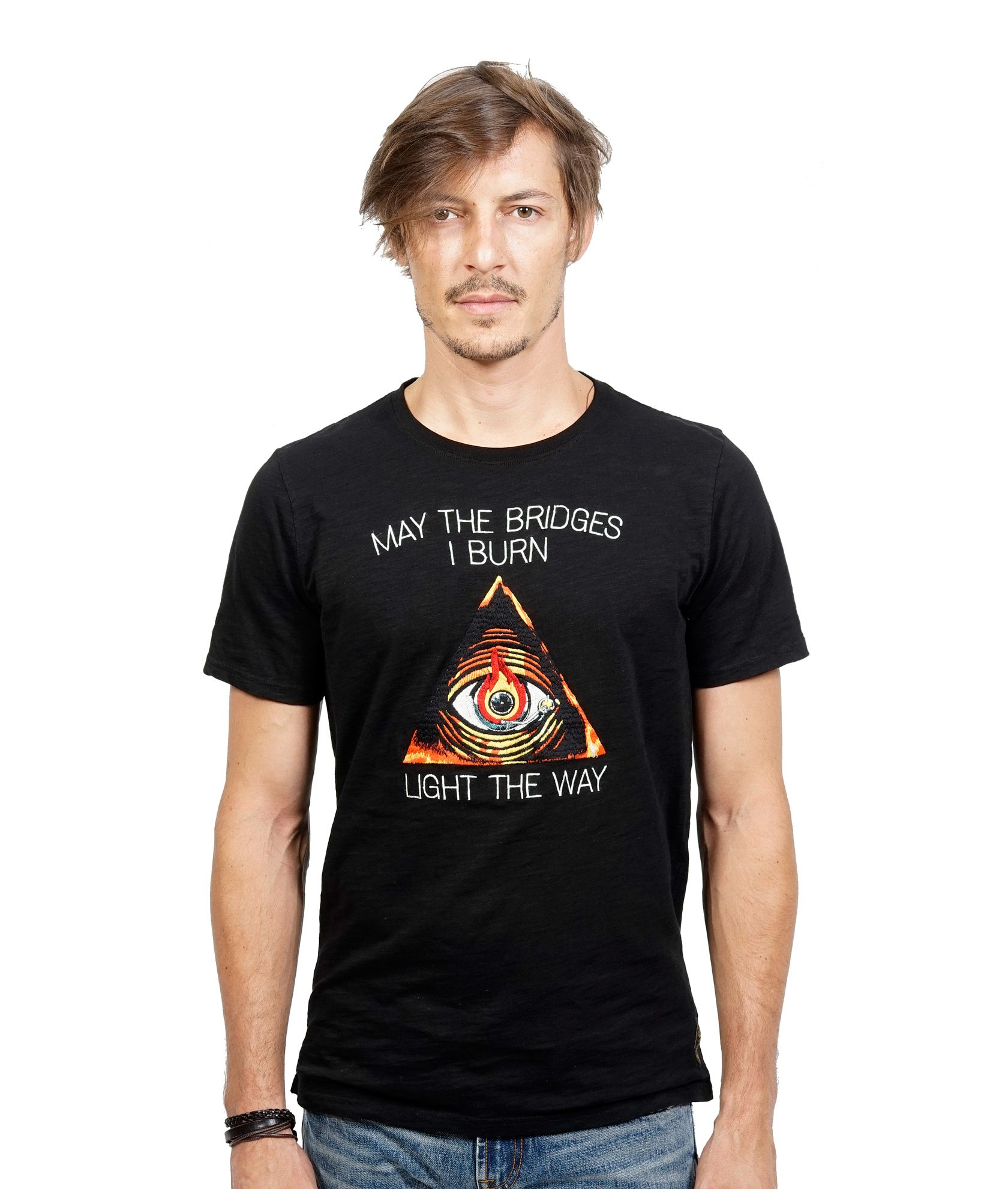 Light The Way Embriodered Tee in Black