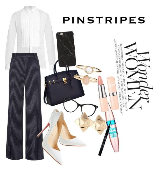 """""""Pinstripes"""" by styleninja94 on Polyvore featuring Balenciaga, Marc Jacobs, Christian Louboutin, STELLA McCARTNEY, Accessorize, Valentino, Maybelline and Givenchy"""