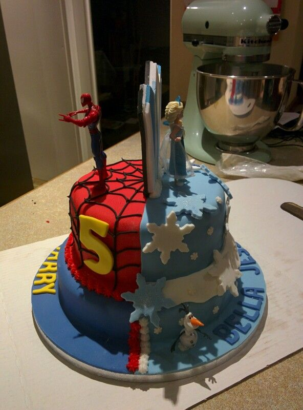 Two Tiered Half And Half Frozen Spiderman Birthday Cake