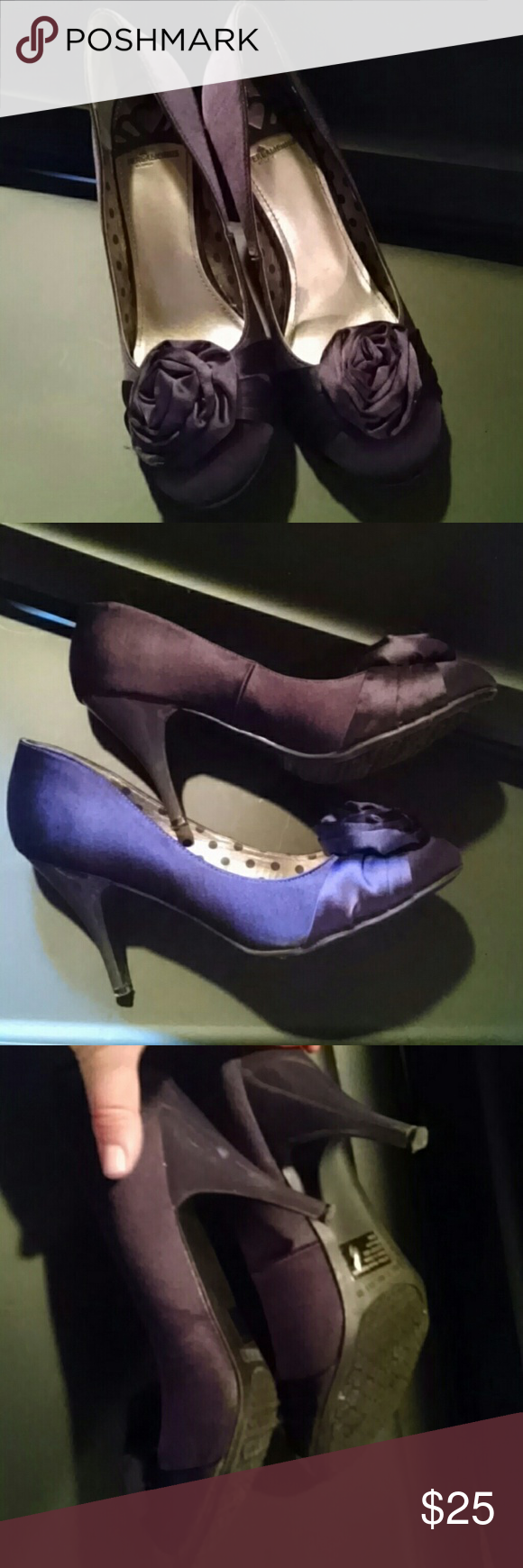 Very stunning heels Purple! Size 10m Ladies they are cute deep purple heels....fergie does well. Flowers and heels. Wore to a shower and looked amazing with a black dress! Shoes Heels