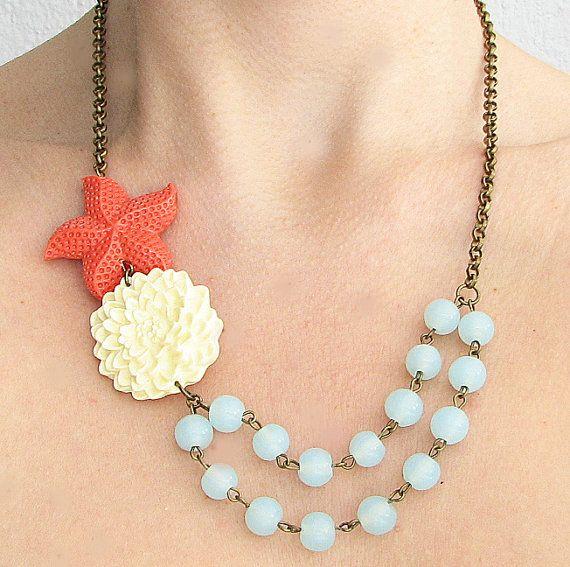 Starfish Jewelry Flower Necklace Statement Necklace Bib Coral