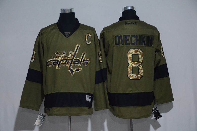 Men s Washington Capitals  8 Alex Ovechkin Camo Green Hockey Jerseys ... 70e8799af