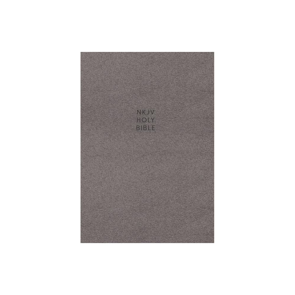 Nkjv Single Column Reference Bible Cloth Over Board Gray Red