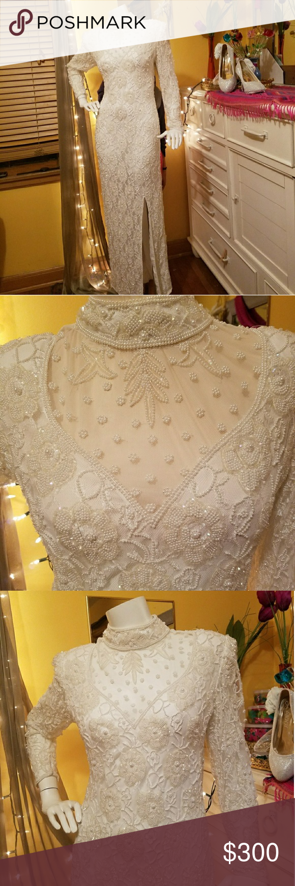 Laurence Kazar White Vintage Beaded Dress Sale This Vintage Wedding Dress Is A Rare Item Beautifully Beaded See Through Lace In Som Vintage Dresses Dresses For Sale Dresses