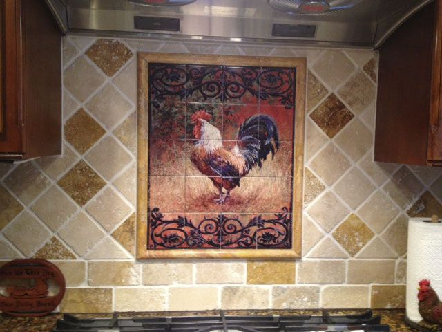 Rooster Tiles Kitchen Backsplash Tiles Iron Gate Rooster I Tile Mural Tile Murals Kitchen Tiles Backsplash Decorative Tile