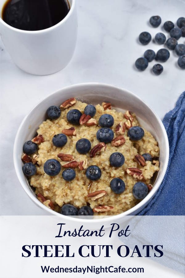 Instant Pot Steel Cut Oats are an easy healthy breakfast, great for meal prep but also doable on a weekday morning. Once you start the pressure cooker, this recipe is completely hands off. Steel cut oats cook perfectly with only 4 minutes under pressure—no need to stand by the stove and stir constantly. With so many topping options, this breakfast never gets boring. #steelcutoats #oatmeal #breakfast