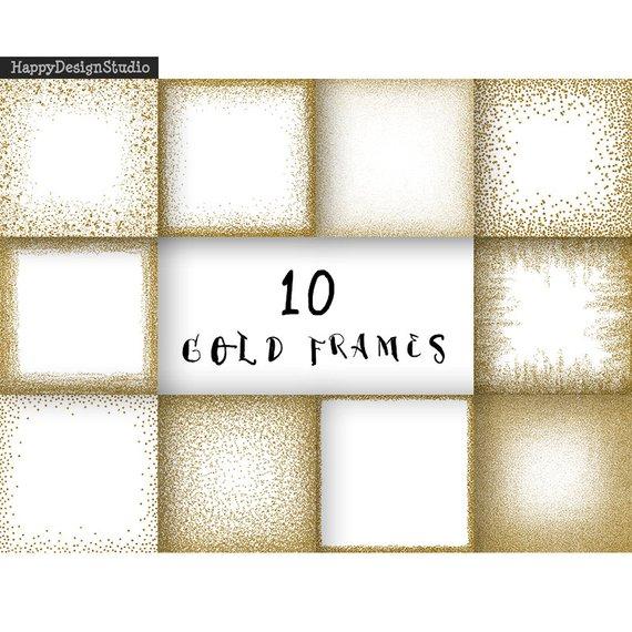 Gold Glitter Frames Digital Paper Clipart Golden Overlays Png Etsy Glitter Frame Digital Paper Wedding Frames
