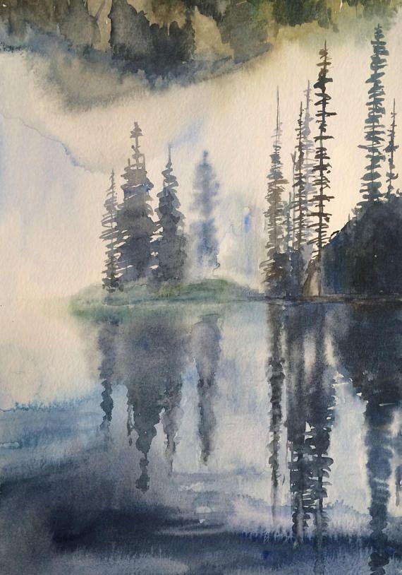 Lake Painting Pine Tree Painting Cascades Landscape Landscape