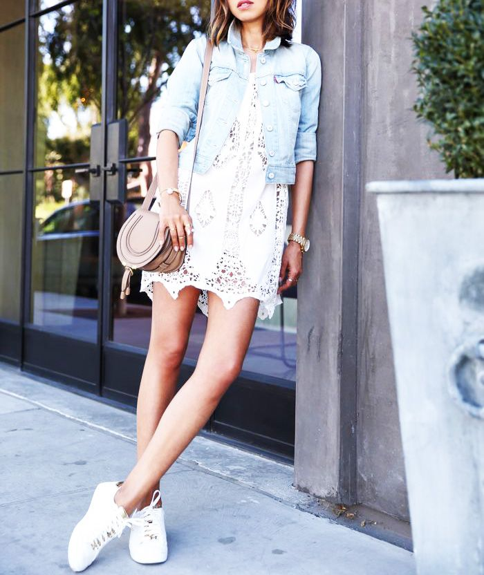 How to Wear a Lace Dress With Adidas Stan Smith Tennis Shoes for a Casual  Brunch: Shop the Look