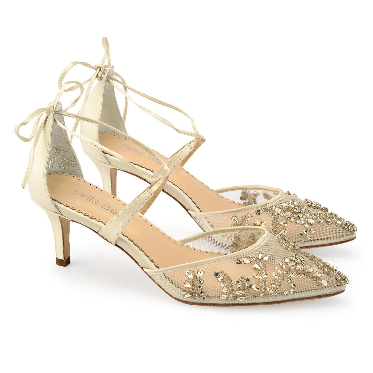 Comfortable Champagne Crystal Low Heel Embellished Wedding Evening Shoes Ankle Tie Evening Shoes Low Heel Gold Wedding Shoes Wedding Shoes Heels