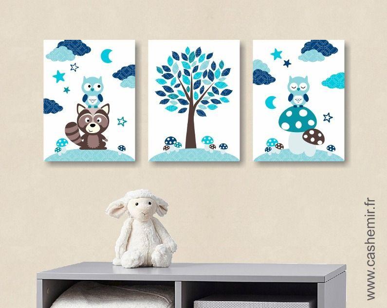 lot de 3 illustrations pour enfant et b b gar on d coration illustration pour chambre d 39 enfant. Black Bedroom Furniture Sets. Home Design Ideas