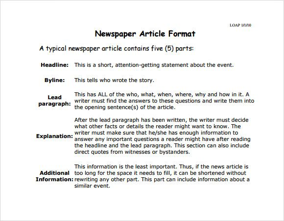 Newspaper Article Writing
