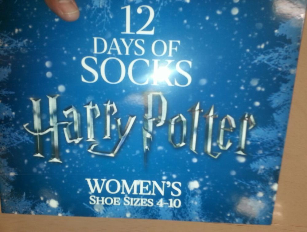 rare harry potter womens 12 days of christmas socks sealed new holiday gift wb