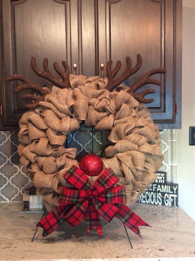 Burlap Reindeer Wreath Christmas Wreath Rudolph Wreath #wreaths