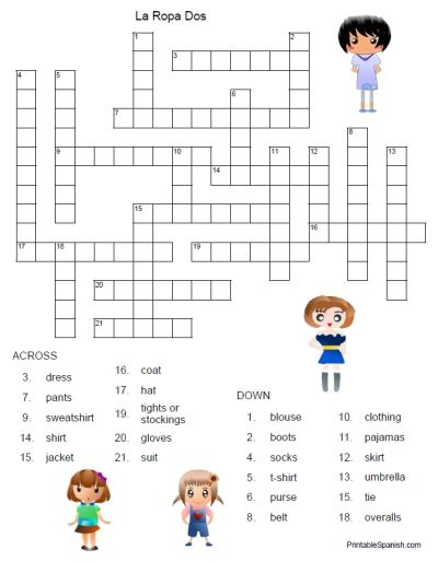 printable spanish freebie of the day la ropa dos crossword puzzle answer key from. Black Bedroom Furniture Sets. Home Design Ideas