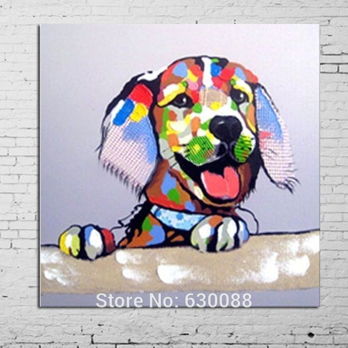 100 Hand Painted Decorative Art Gentle Dog Oil Painting On Canvas