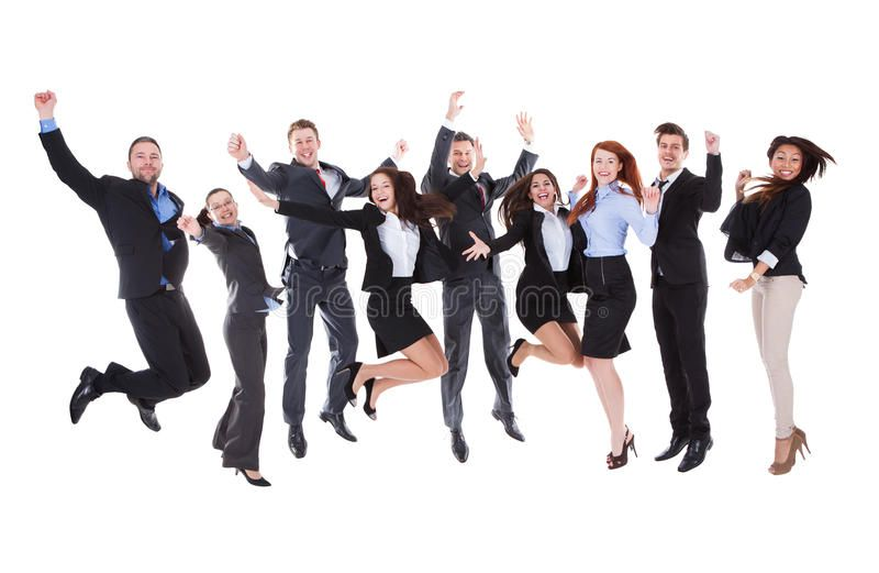 Large Group Of Excited Business People Large Group Of Excited