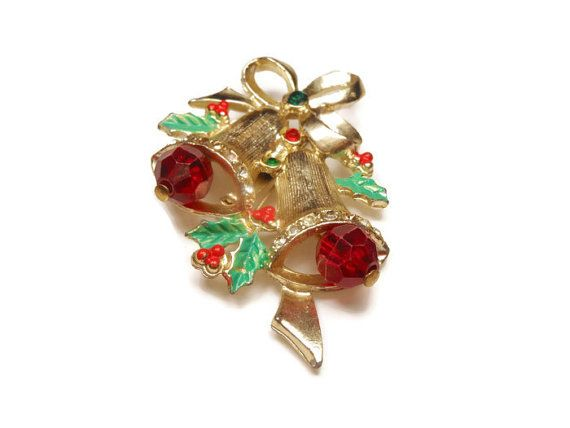 Articulated Christmas bells with rhinestones by maggiescornerstore, $8.00