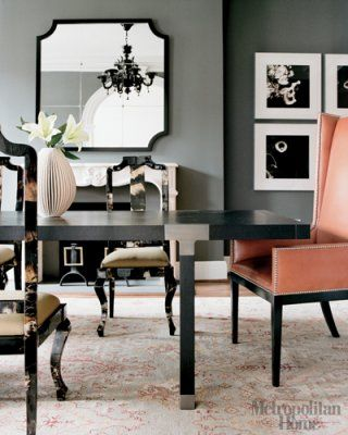 Black Lacquer Modern Dining Table And Glossy Black Asian Dining Room Chairs,  Leather Orange Captain Wingback Wing Back Chairs With Nail Head Trim, ...