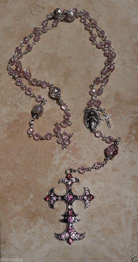 Genuine Swarovski Pink AB Crystal Miraculous Fleur De Lis Silver Catholic Rosary