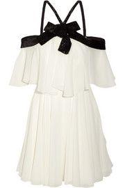 Saint LaurentSequin-embellished silk-georgette mini dress