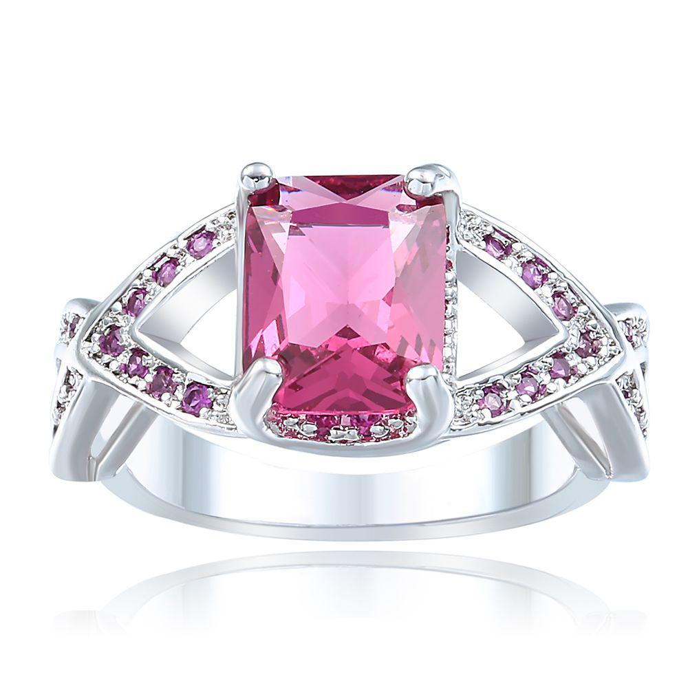 rings hot pink cross Wedding luxury Engagement jewelry fashion women ...