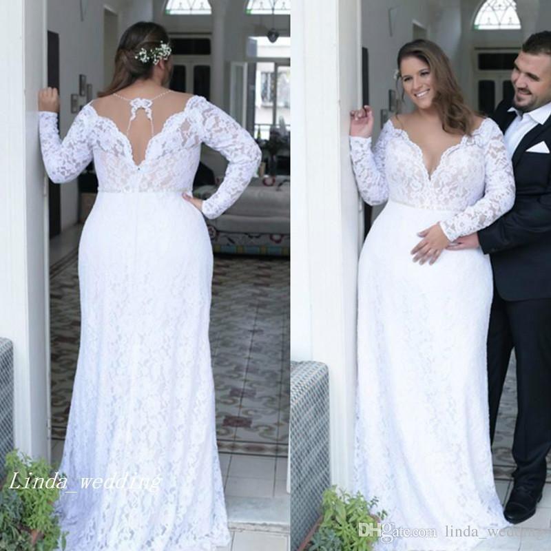 Discount 2019 Vintage Plunging V Neck Wedding Dress Backless Long ...