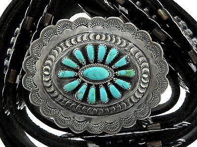 Navajo-Sterling-Silver-Turquoise-Needlepoint-Cluster-Hand-Stamped-Concho-Belt