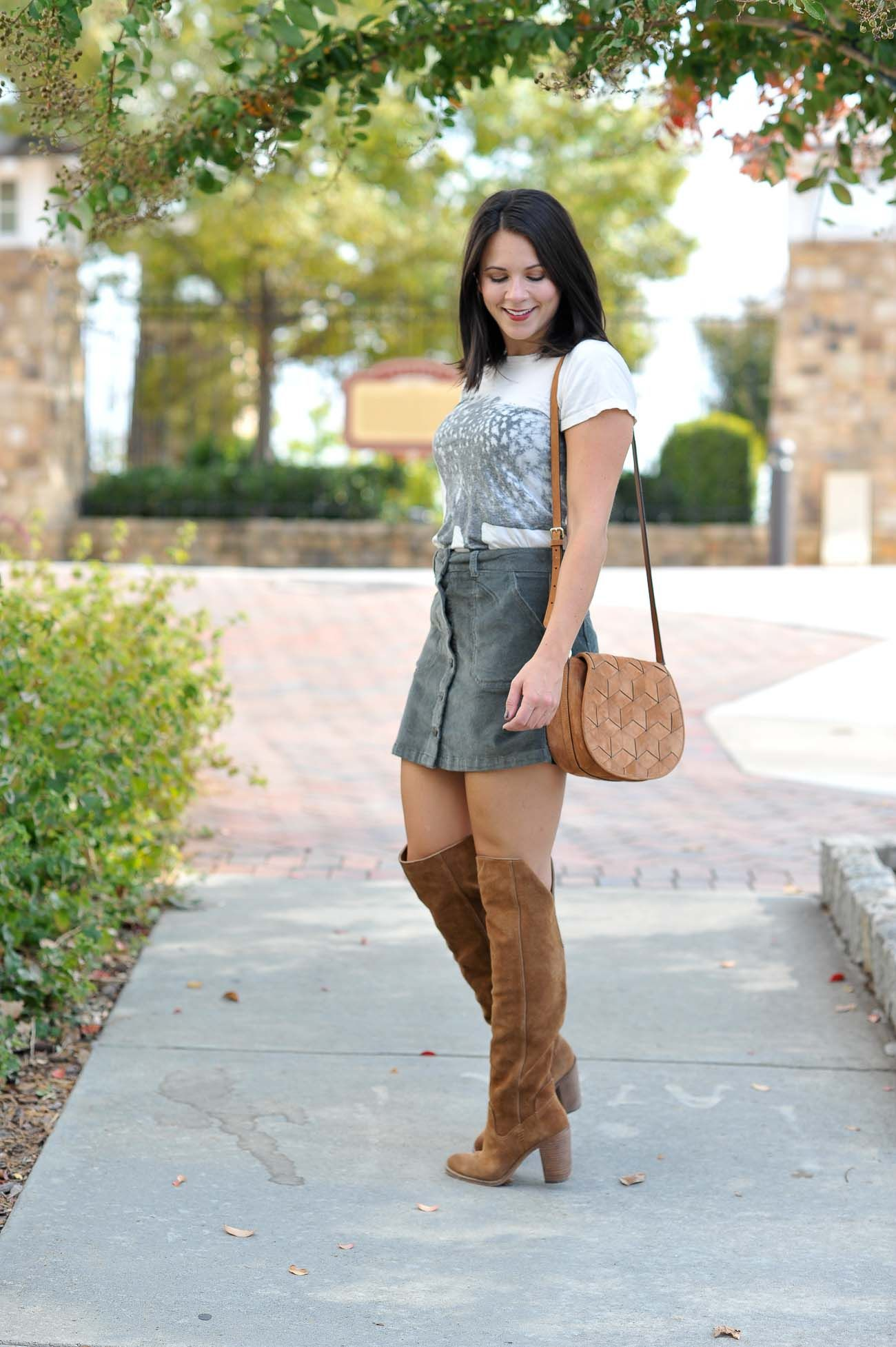 87d2de1fe over the knee boots, button up mini skirt, outfit ideas for fall - My Style  Vita @mystylevita
