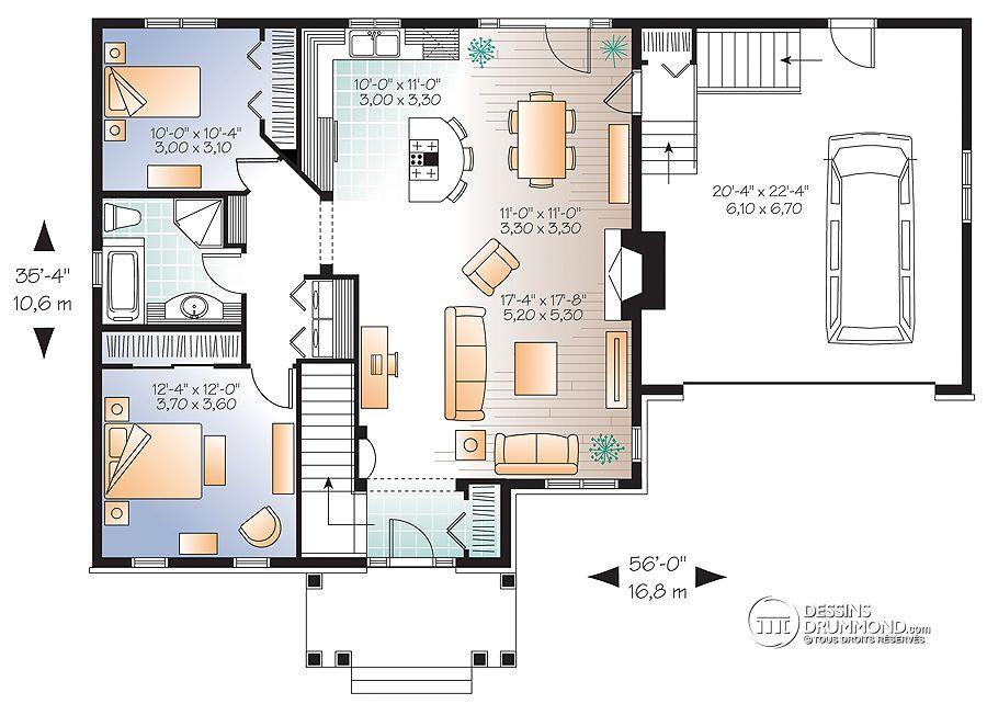 Détail du plan de Maison unifamiliale W3236-V1 mimari planlar