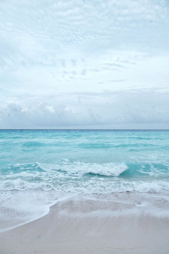 Beach Photography, Ocean Prints, Coastal Wall Art, Aqua Blue Beach, Seashore Horizon, Surf Decor, Wave Crashing Onshore, Beach Wall Art