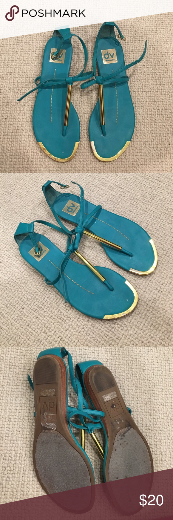 Dolce Vita turquoise sandals size 6.5 Dolce Vita turquoise sandals with gold detail size 6.5 Dolce Vita Shoes Sandals