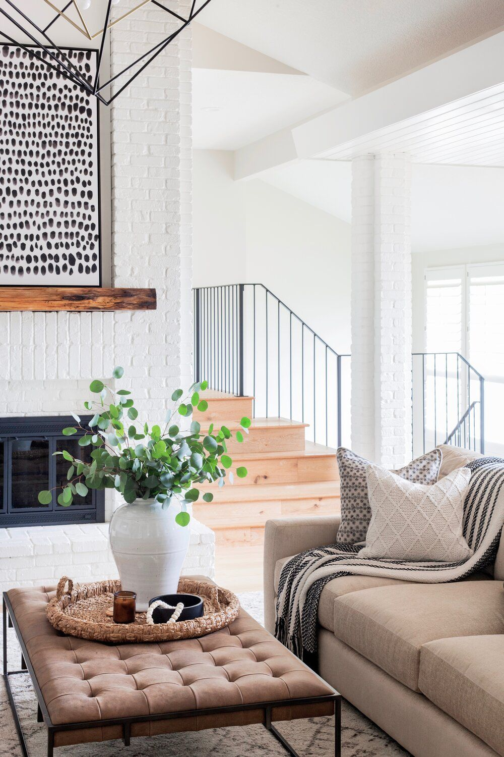 Home Reveal Cozy Contemporary Living Room Scout Nimble White Brick Fireplace Home Living Room Wood