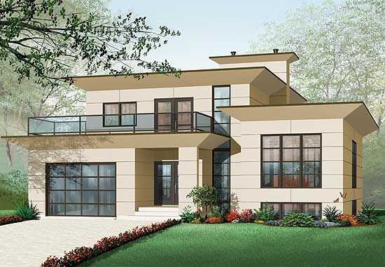 Plan 21679DR: Modern House Plan With 2nd Floor Terace