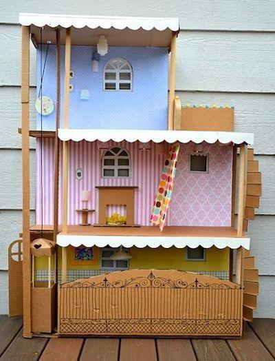 Cara Membuat Rumah Barbie Dari Kardus : membuat, rumah, barbie, kardus, Membuat, Kerajinan, Tangan, Kardus, Menghasilkan, Rumah, Boneka,, Mainan, Buatan, Sendiri,