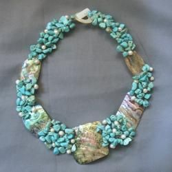 Abalone, Turquoise and Pearl Link Necklace (5-9 mm)
