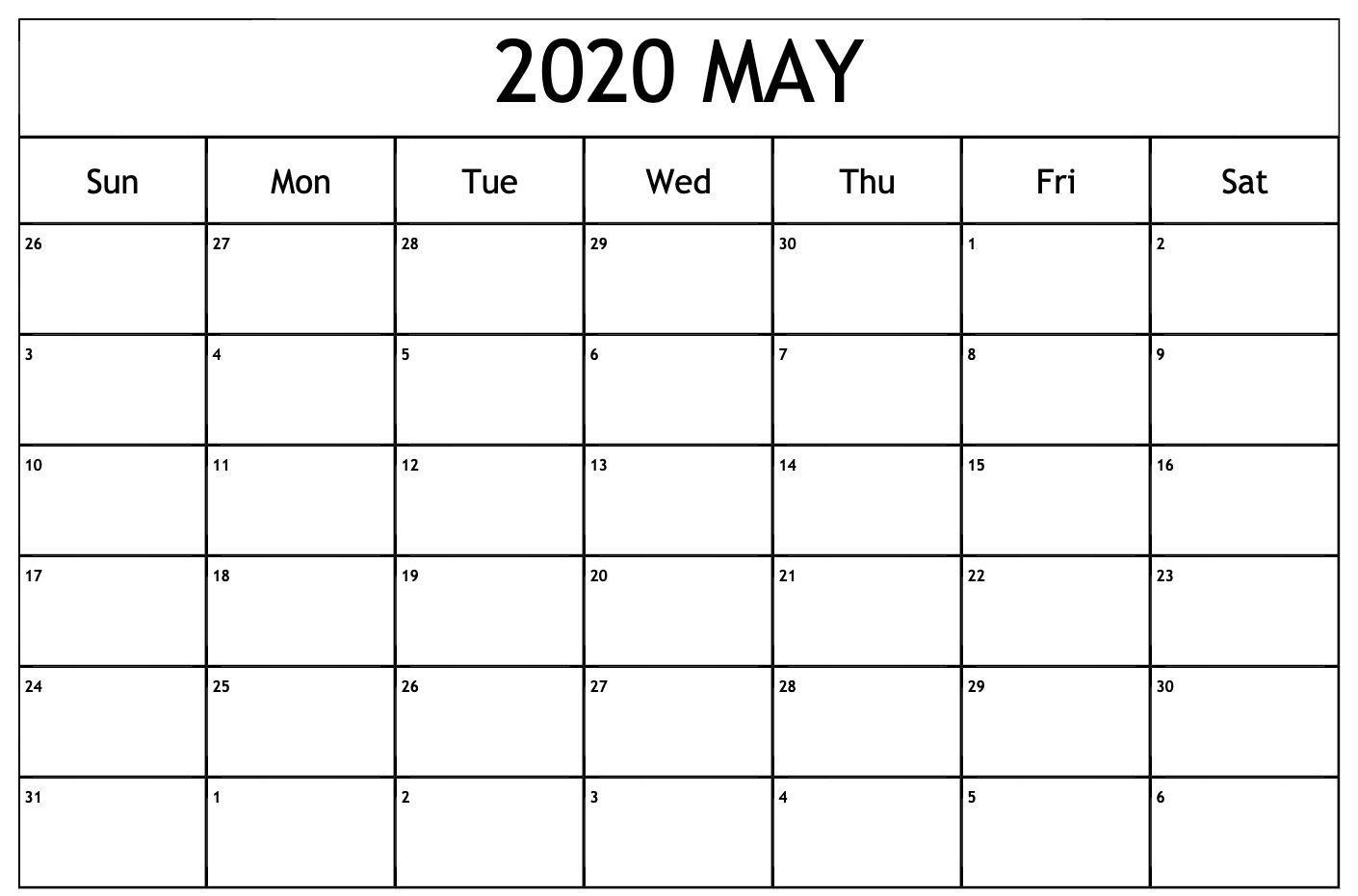 Online May 2020 Calendar Blank Printable Template Pdf Word