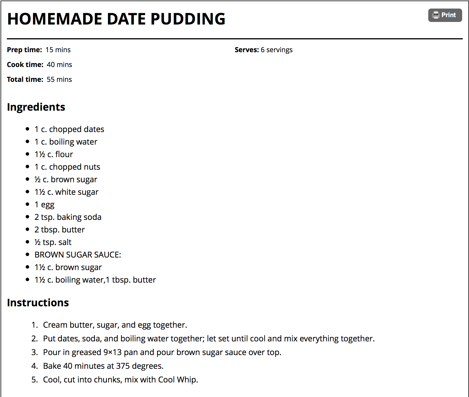 Homemade Date Pudding - Amish365.com